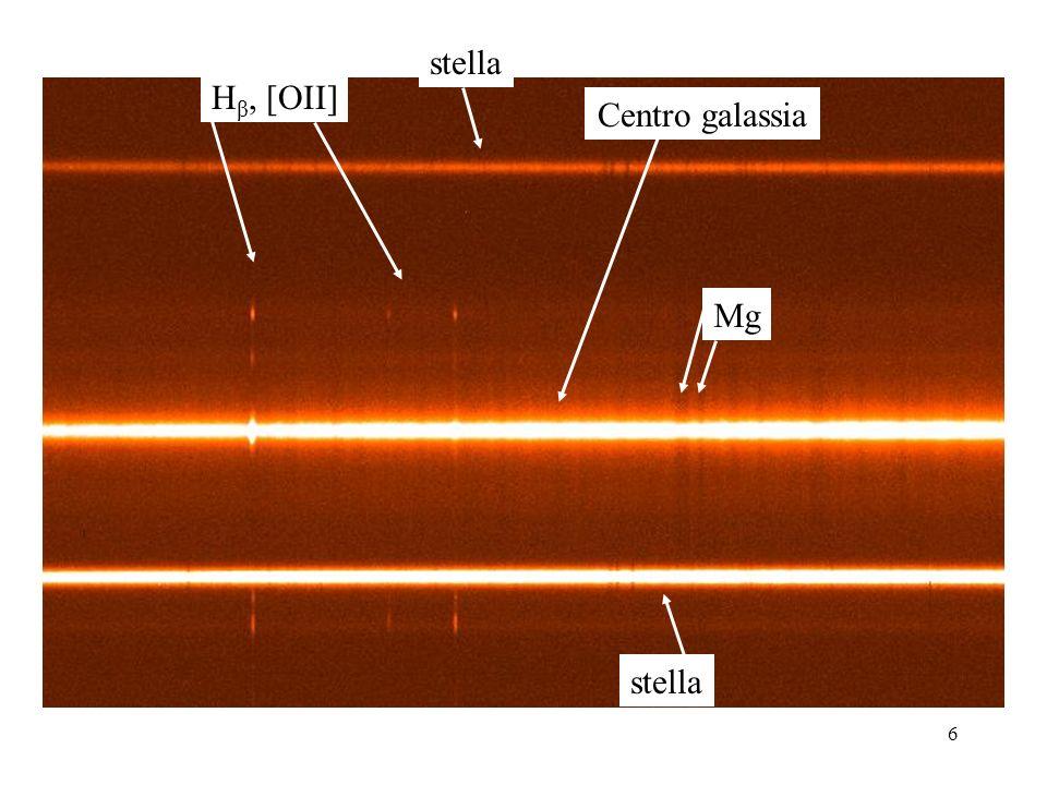 stella Hβ, [OII] Centro galassia Mg stella